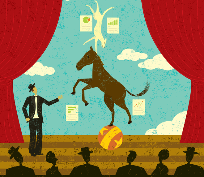 Cartoon horse on a stage standing on a ball with a dog balancing upside down on his head. Both have data sheets hanging off them.
