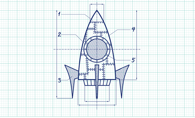 blue print of a rocket ship