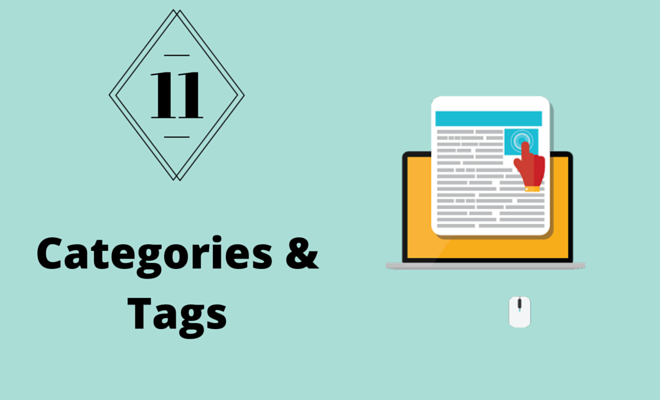A computer and websites representing categories and tags.