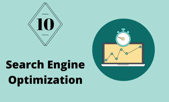 Computer with graph and timer representing Search Engine Optimization.