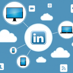 Cloud representing Linkedin Publisher with different devices