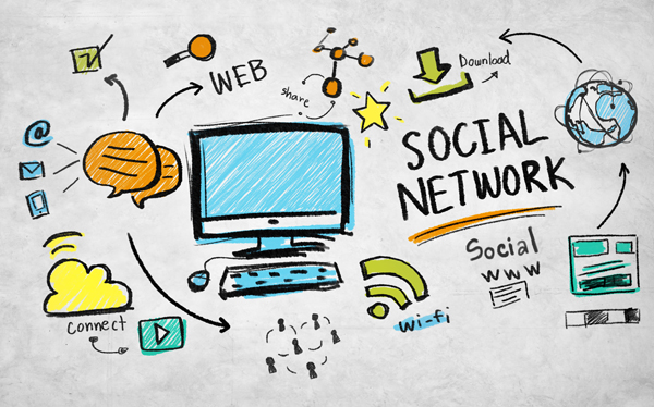 cartoon image of computer and social networking icons