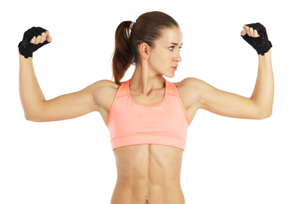Woman flexing her muscles