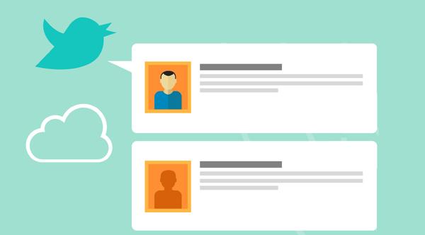 Cartoon twitter bird with cartoon tweets.