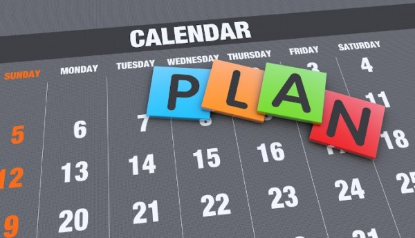 Calendar with block letters that say plan on top