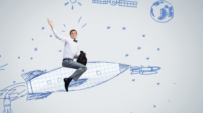 5 Content Marketing Hacks That Will Help You Start 2015 With a Bang illustrated by a man riding a rocket.
