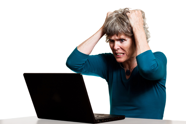 Frustrated b2b content marketer tearing out her hair