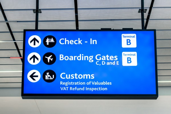 Info sign at international airport representing the theme of launching results for your blog post with the blog post checklist