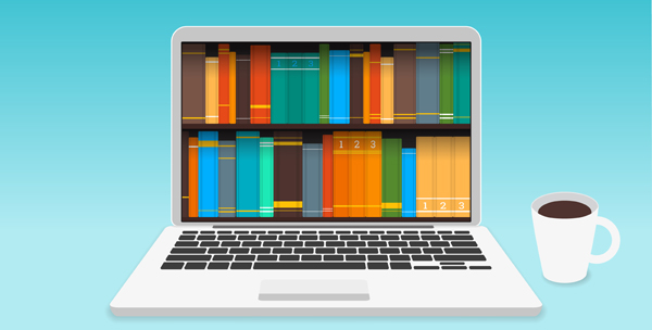 Laptop with a collection eBooks