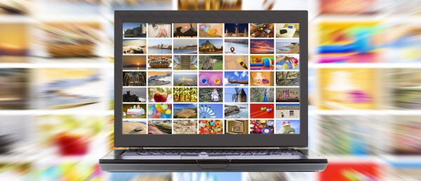 computer screen full of images