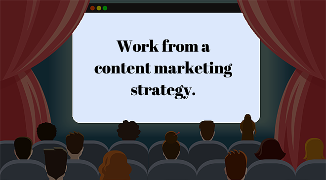 Cartoon cinema with a screen that shows Work from a content marketing strategy