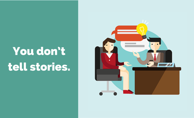 Cartoon people at a desk telling stories with title B2B Websites don't tell stories.