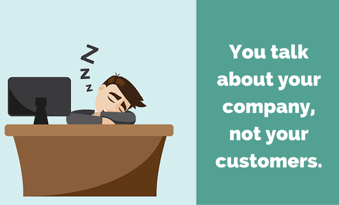 Cartoon business man sleeping at a desk and the title You talk about your company, not your customers.