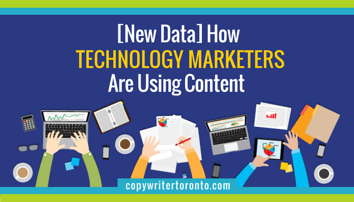 [New Data] How Technology Marketers Are Using Content illustration of hands writing and using laptops