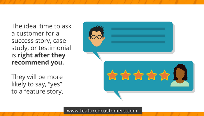 Speech bubble showing customer testimonial and profile picture