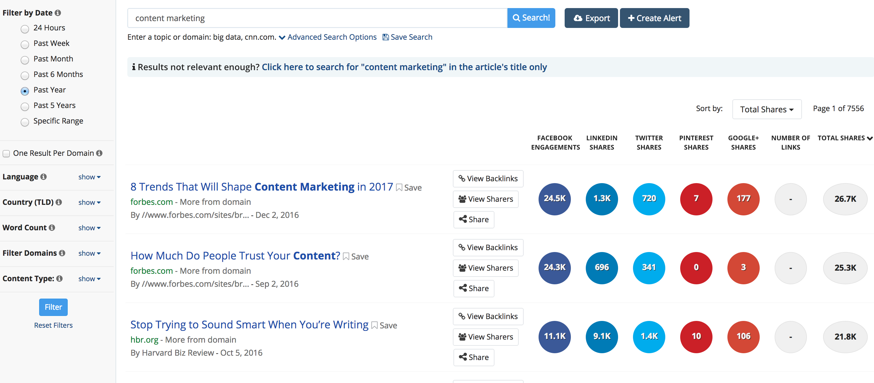 Screen shot showing Buzzsumo's website